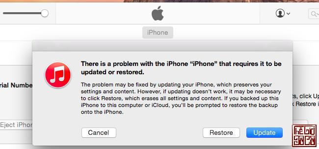 Thông báo khi iPhone, iPad cần khôi phục hệ điều hành_Thegioidoco.net.png